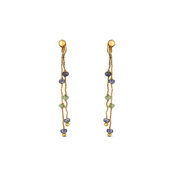 Dual Drop Bead Earrings In 22K Gold