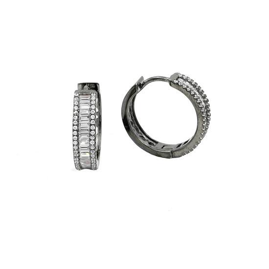 20mm Black Rhodium Sterling Silver Hoop Earrings