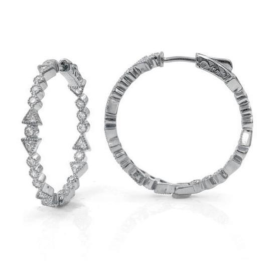 Lovely Black Rhodium Sterling Silver CZ Hoop Earrings
