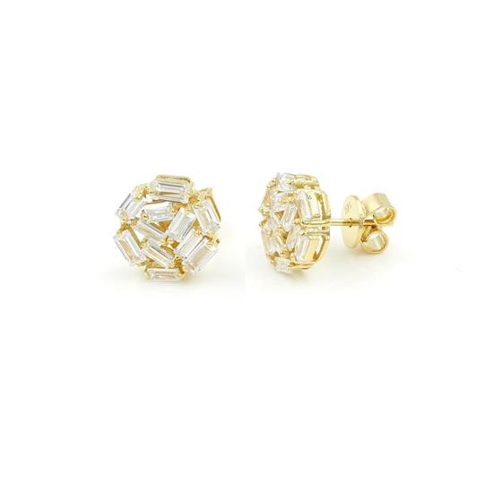 Elegant 14K Gold Plated Sterling Silver Disc Earrings with Baguette Cubic-Zirconia