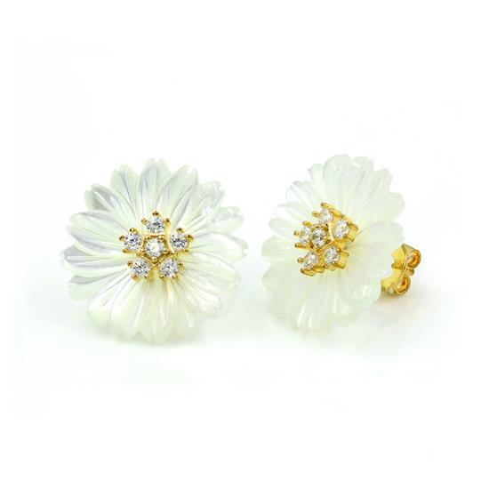 Elegant 14K Gold Plated Sterling Silver White cz with Mother of Pearl Flower Earring Stud
