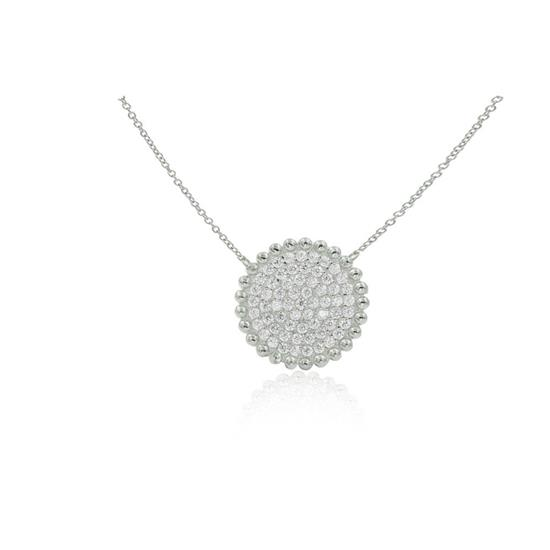 Elegant 925 Platinum Plated Sterling Silver White cz Pave Disc Pendant Necklace
