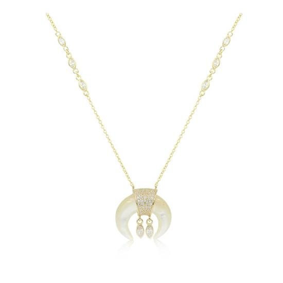 Elegant 14K Gold Plated Mother of Pearl Horn Necklace with Dangling Pendant