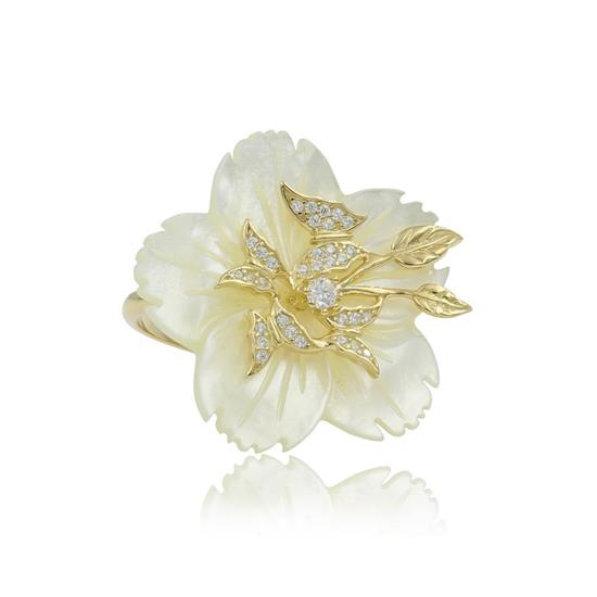 Elegant 14K Gold Plated Sterling Silver CZ With Mother of Pearl Flower Ring