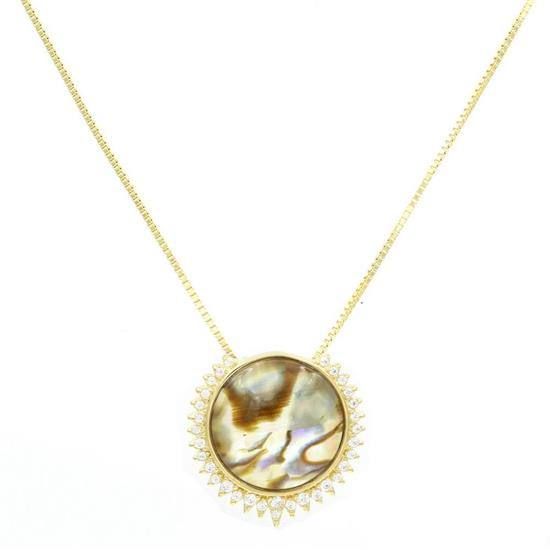 Gold Plated Sterling Silver With Abalone Shell Necklace