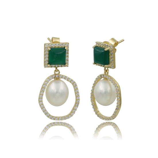 Antiqued Finished 14K Gold Plated SGreen Agate with Fresh Water Pearl Earring with Cubic-Zirconia