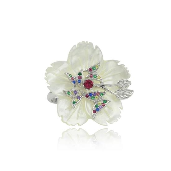 Platinum Plated Sterling Silver Rainbow CZ With Mother of Pearl Flower Ring
