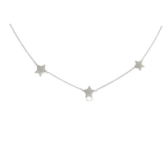 Plain High Polished Stainless Steel Three Stars Collar Necklace