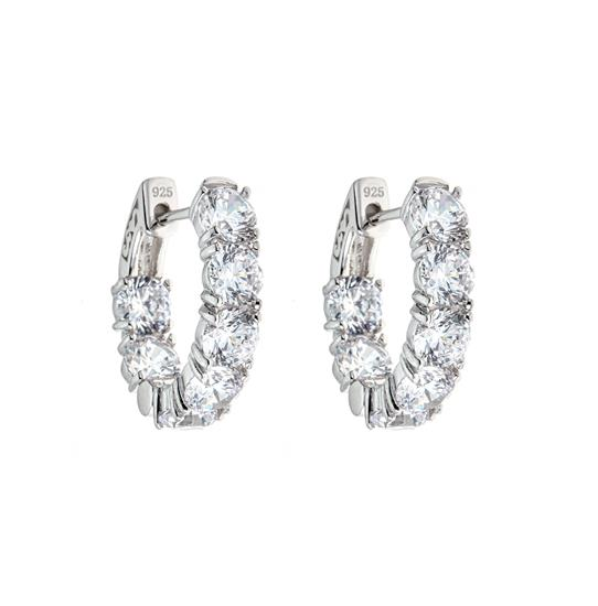 Elegant 925 Platinum Plated Sterling Silver Hoop Earrings for Ladies