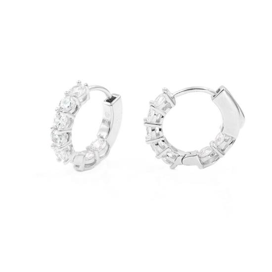 Polished Finish 925 Platinum Plated Sterling Silver Hoop Earrings