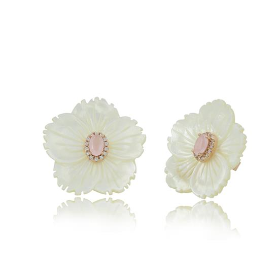 Engraved Elegant Rose Gold Plated Sterling Silver Mother of Pearl Flower Earring