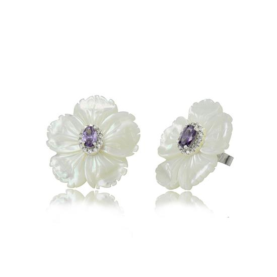Classy Sterling Silver Mother of Pearl Flower Earring