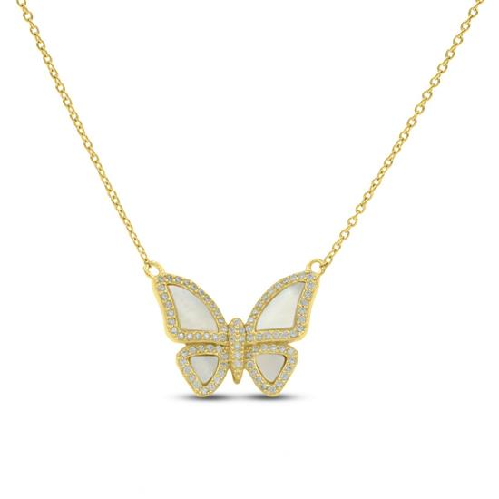 Fancy 14K Gold Plated Sterling Silver Butterfly Necklace With Cubic-Zirconia and Mother of Pearl