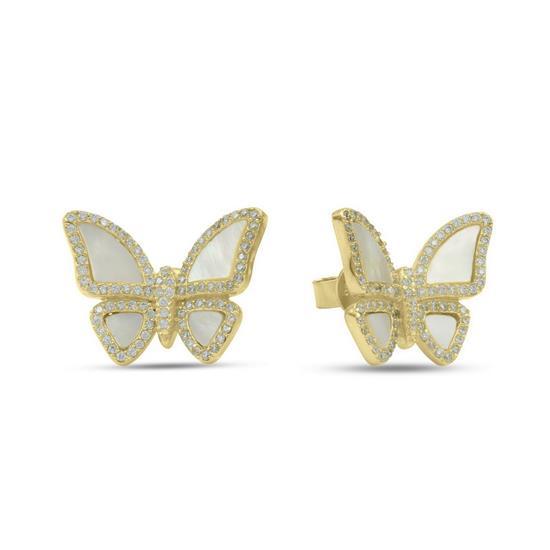 Fancy 14K Gold Plated Sterling Silver Butterfly Earring