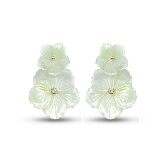 Gold Plated Sterling Silver MOP Flower Earrings