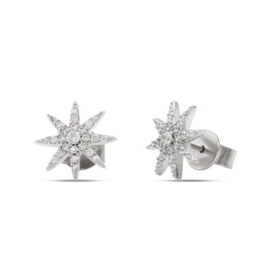 Elegant 925 Sterling Silver Star Earring Stud with Cubic-Zirconia