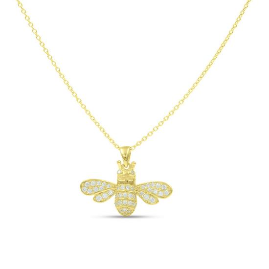 Fancy 14K Gold Plated Sterling Silver Bee Necklace