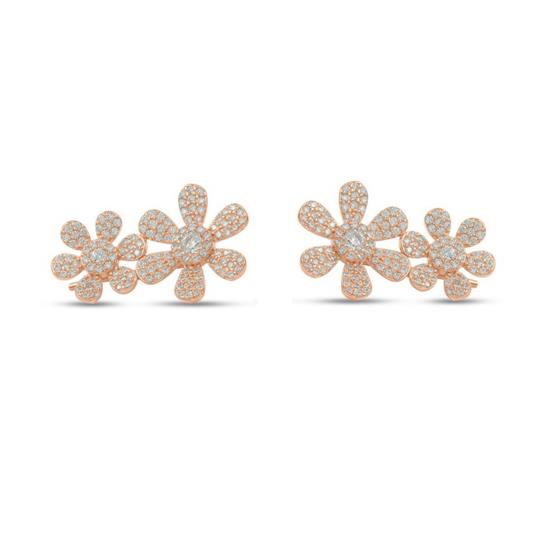 Rose Gold Plated Sterling Silver Flower Earring