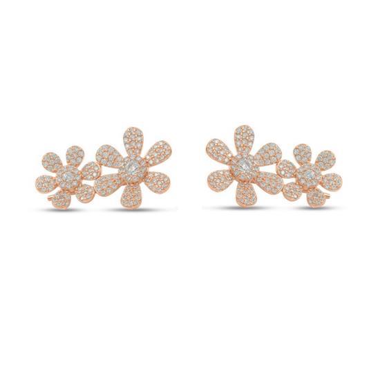 Rose Gold Plated Sterling Silver Flower Earring