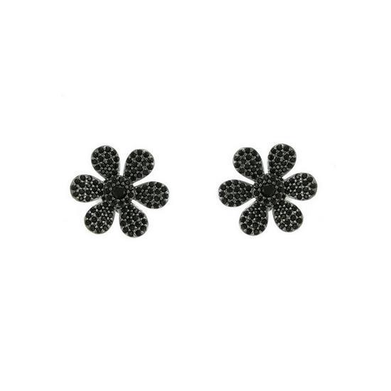 925 Black Rhodium Sterling Silver Flower Earring