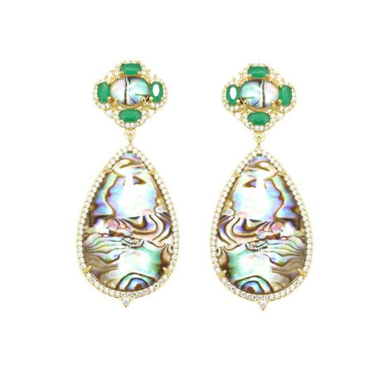 GOLD PLATED STERLING SILVER GREEN CZ WITH ABALONE SHELL EARRINGS
