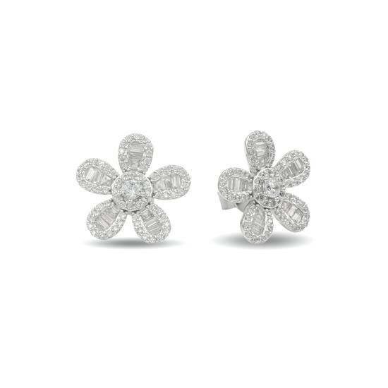 14k Platinum Plated Sterling Silver Flower Earring for Ladies