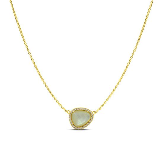 Solitaire Style 14K Gold Plated Sterling Silver Mother of Pearl Necklace