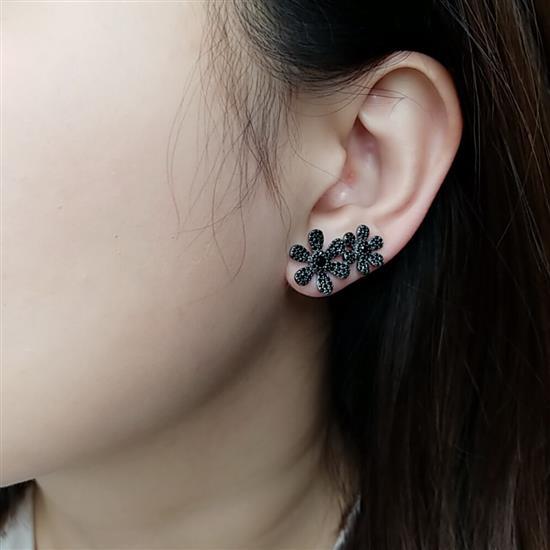 Black Rhodium Sterling Silver Flower Earring for Ladies