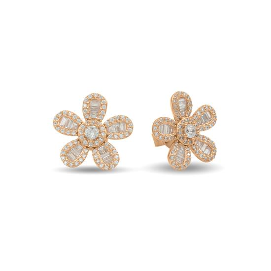 Elegant 14k Rose Gold Plated Sterling Silver Flower Earring
