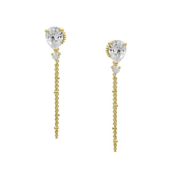 Elegant 14K Gold Plated Wire Earring with Cubic-Zirconia