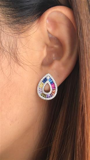 Classic 925 Platinum Plated Luxury Women Rainbow cz Hoop Earring Colorful Jewelry