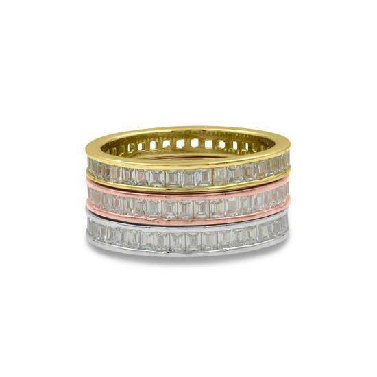 Elegant 925 Sterling Silver Baguette Tri Band with Cubic-Zirconia