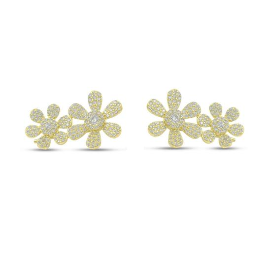 925 Gold Plated Sterling Silver Flower Earring