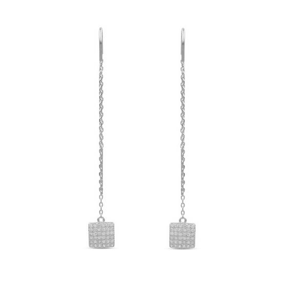 Fancy 925 Platinum Plated Sterling Silver Square Threader Earring with Cubic-Zirconia