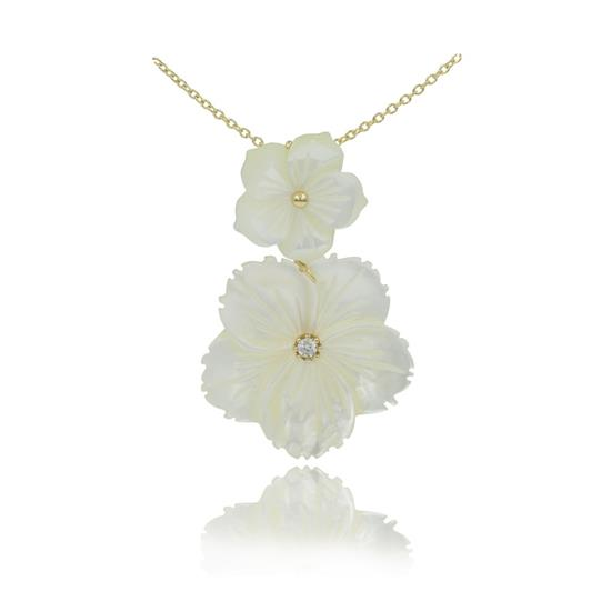 Elegant 14K Gold Plated Sterling Silver Mother of Pearl Flower Necklace for Women