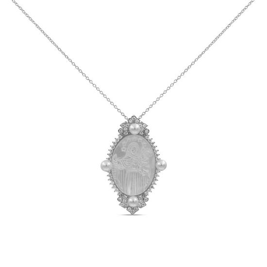 Fancy 925 Platinum Plated Sterling Silver Mother of Pearl Necklace with Cathedral Style Pendant