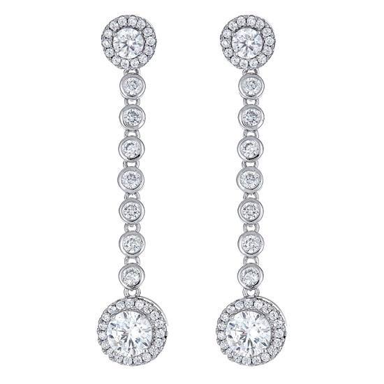 Elegant Bridal Style 925 Platinum Plated Sterling Dangling Earring with Cubic-Zirconia