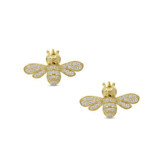 Fancy 14K Gold Plated Sterling Silver Bee Earring