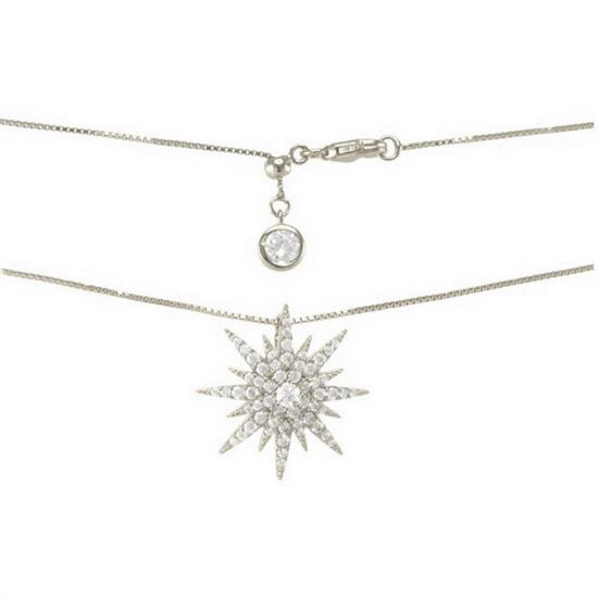 Elegant Polish Finished Sterling Silver Necklace with Cubic-Zirconia