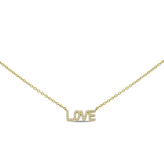 """Gold Plated 16"""" with 2"""" extension Sterling Silver cubic zircon """"LOVE"""" Necklace"""