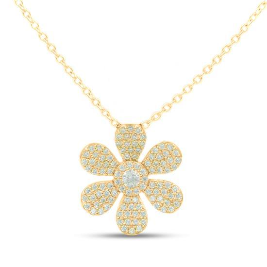Elegant 925 Gold Plated Sterling Silver Flower Necklace