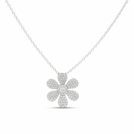 Platinum Plated 925 Sterling Silver Flower Necklace