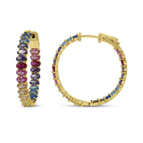 Rainbow Color Hoop Earrings 14K Gold Plated with Cubic Zirconia