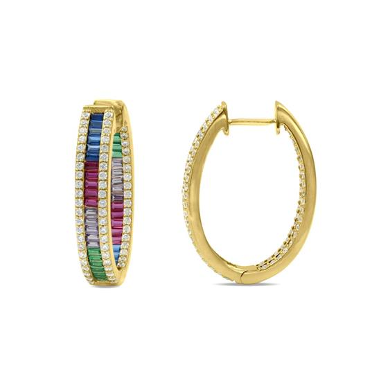 Gold Plated Sterling Silver CZ Hoop Earrings