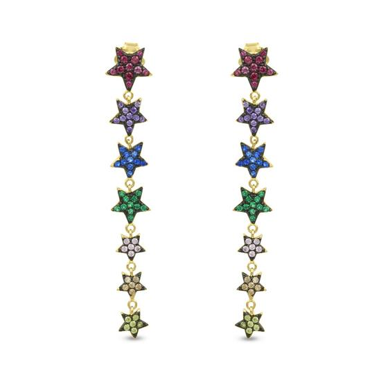 2tone Gold Plated Sterling Silver Rainbow CZ Drop Earrings
