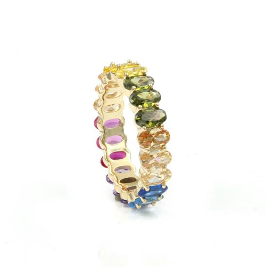 Gold Plated Sterling Silver Rainbow Color CZ Ring