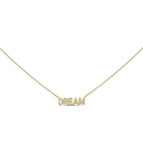 """Gold Plated 15"""" with 2"""" extension sterling silver cubic zircon """"DREAM"""" necklace"""