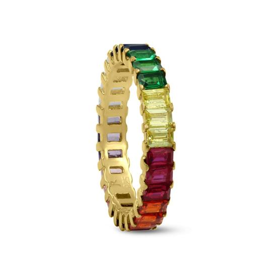 Polished Finish Baguette Gold Plated Sterling Silver Ring