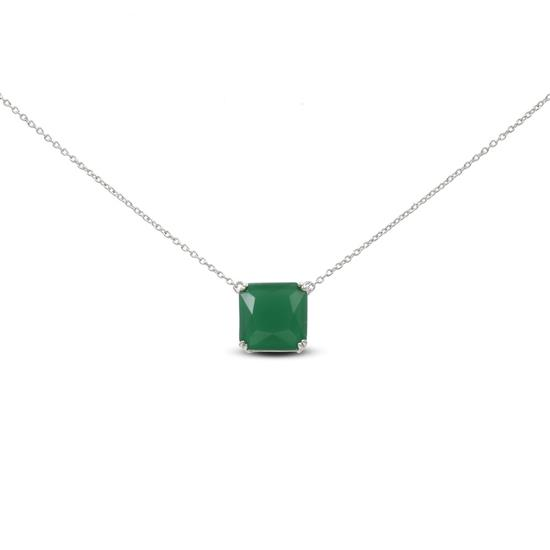 Sterling Silver with Synthetic Emerald