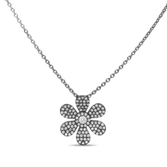 Elegant 14k Black Rhodium Sterling Silver Flower Necklace